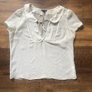 American Eagle Outfitters Sheer Polka Dot Blouse L